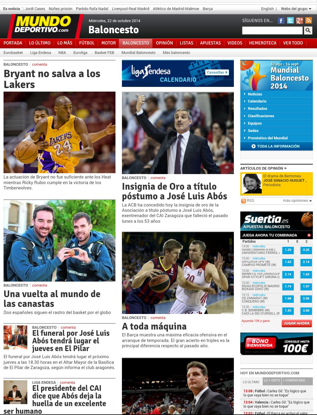 Captura del Artículo en la Web de Mundo Deportivo